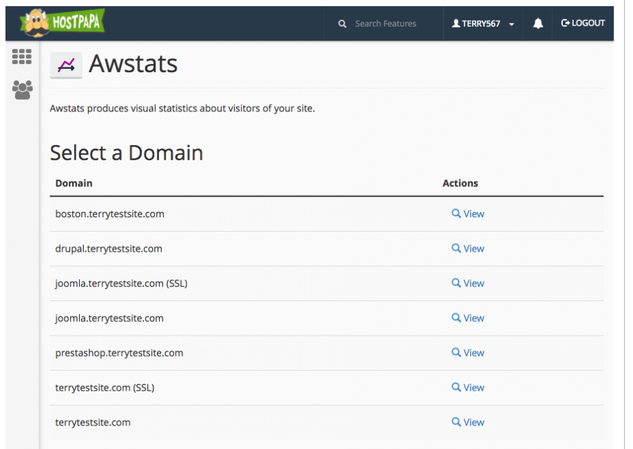 Viewing your domains
