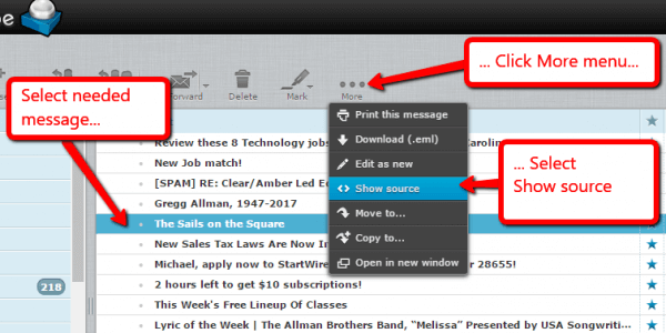 Roundcube - View Email Header