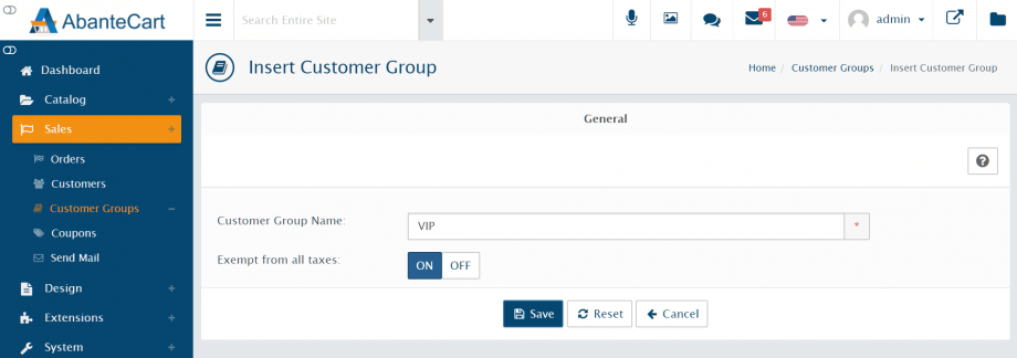 Insert customer group page