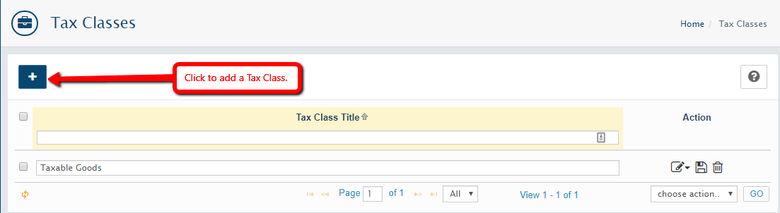 Add a Tax Class