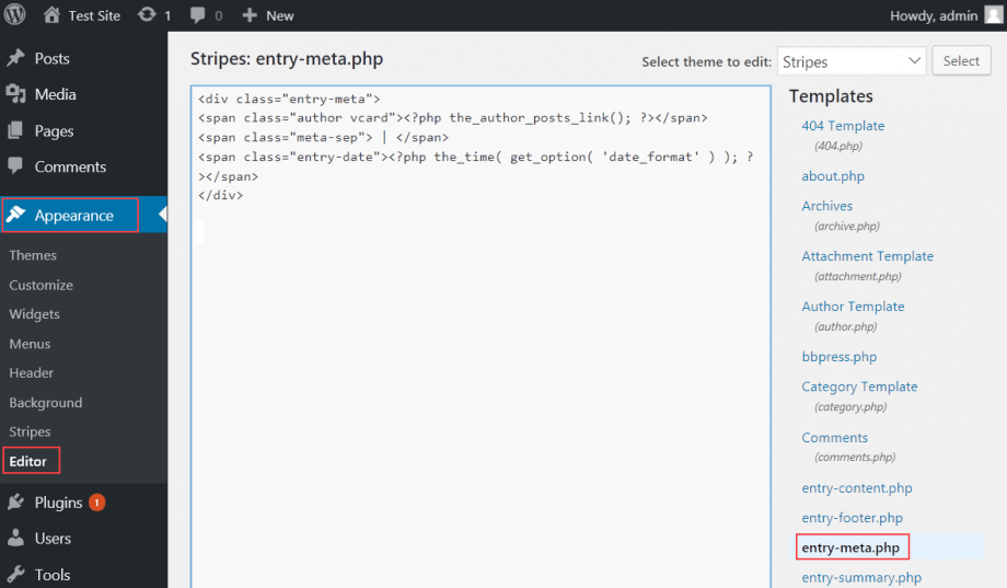 How to design post meta data hostpapa knowledge base the default entry metap code in this theme includes two template tags theauthorpostslink which displays the authors name with a link to a page maxwellsz