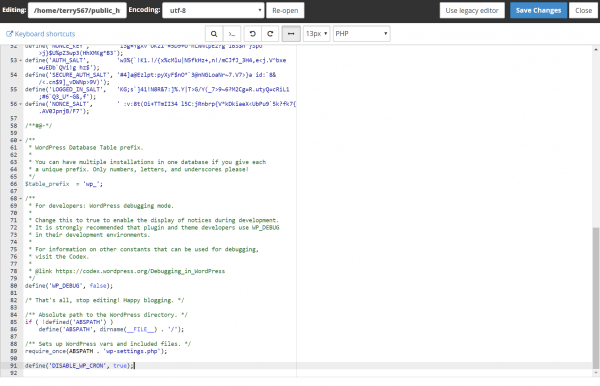 Editing wp-config.php