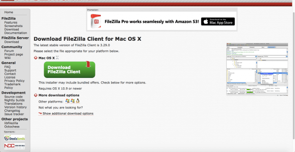 Filezilla website