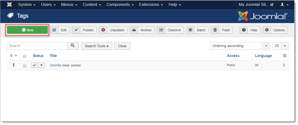 Joomla! Tag Manager - Create Content Tags