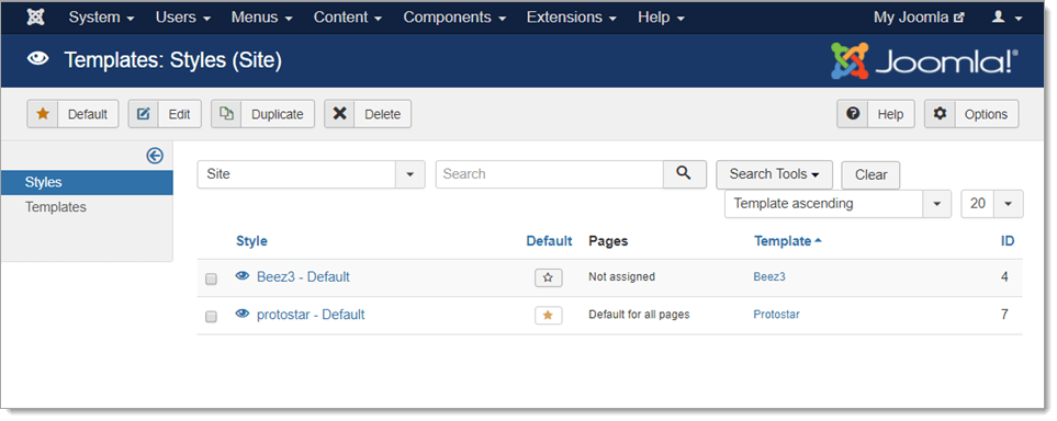 How to access the template manager in joomla hostpapa for Joomla administrator templates