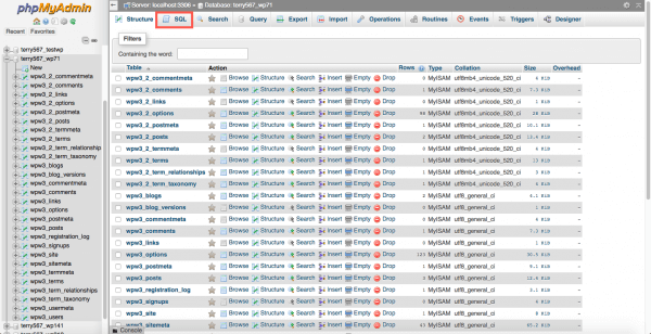 how to create a new database phpmyadmin papa host