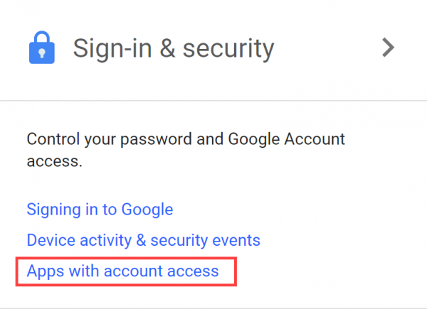 Sign-in & Security