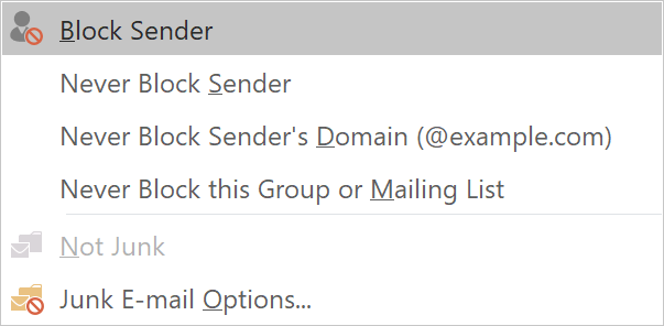 Block Sender settings