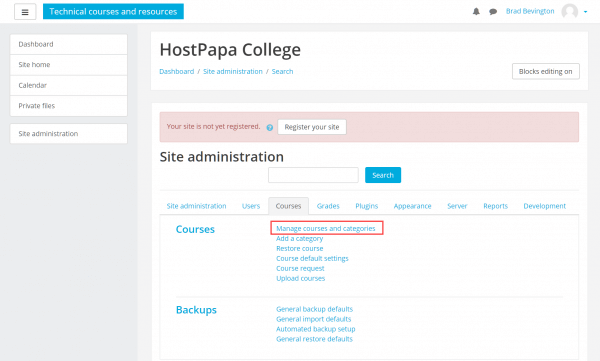 Manage courses and categories