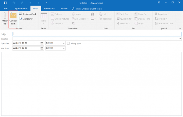 How to attach a file to a meeting invitation in Outlook 2016