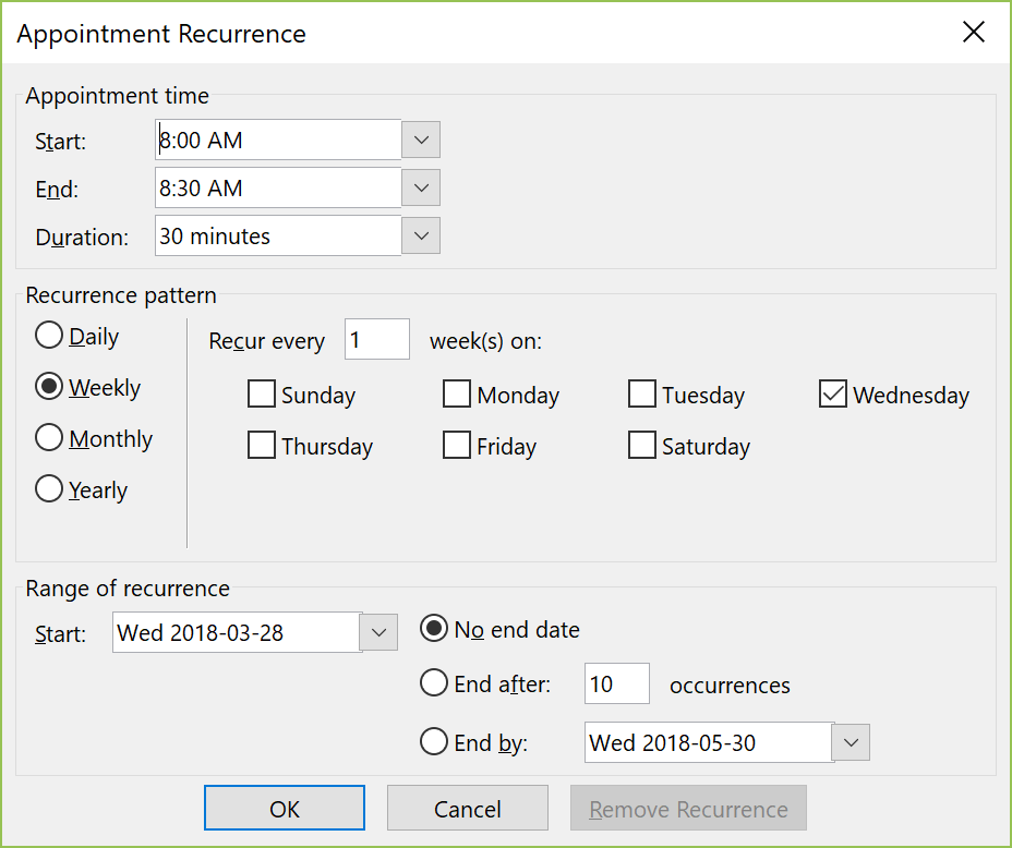 How to manage recurring meetings in Outlook 2016 - HostPapa