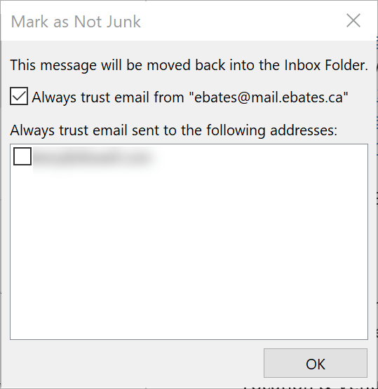 Mark as Not Junk