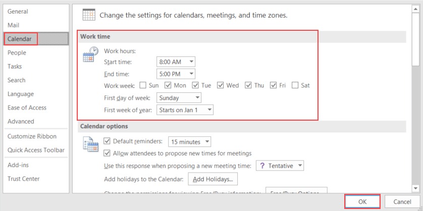 How to view and customize calendars in Outlook 2016