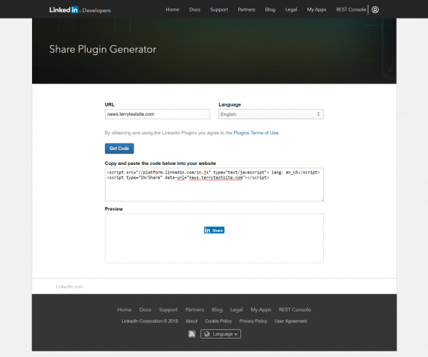 LinkedIn Developer site