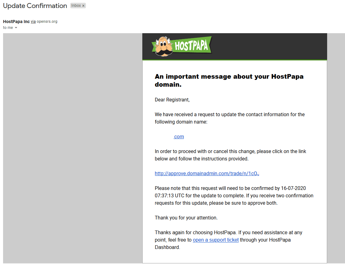 Domain transfer email from HostPapa