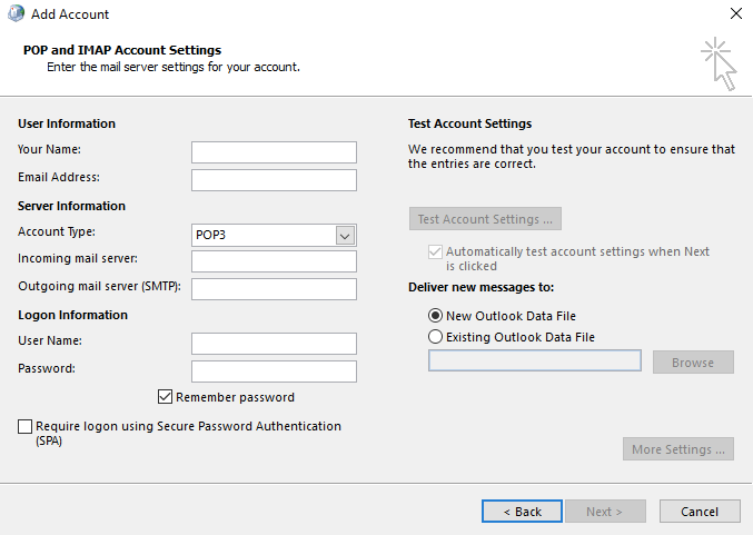 How to set up a POP/IMAP email account in Microsoft Outlook 2013